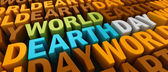 3d-wereld aarde dag tekst — Stockfoto