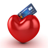 3d heart and credit card isolated — Stock Photo