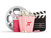 3D cinema concept-Film reel,Popcorn,Clappe r and drink object-isolated — Stock Photo