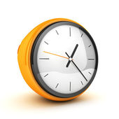 3D Yellow Clock white isolated — Stock Photo