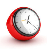 3D Red Clock isolated — Stock Photo