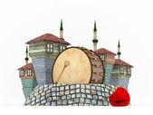 3d ramadan trumma i muslimska kvarter-isolerade — Stockfoto