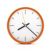 3d pomarańczowy zegar na białym tle — Zdjęcie stockowe