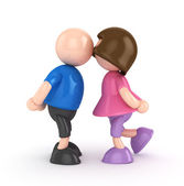 3D Boy and Girl -Kissing figures isolated — Stock Photo