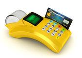 3D Yellow POS-terminal with credit card — Stock Photo