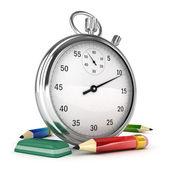 3d kronometer med penna och suddgummi isolerade — Stockfoto