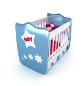 3d white crib with toys-for baby isolated — Stock Photo
