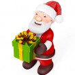 3D Santa Claus with gifts on white background — Stock Photo