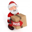 3d Santa Claus with cardboard box on white background — Stock Photo