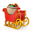 3d santa claus sleigh with gift sack isolated — Stock Photo #36566567