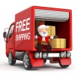 3d cartoon santa claus in truck with cardboard box — Stock Photo