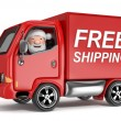 Stock Photo: 3d cartoon santclaus in free shipping truck - isolated