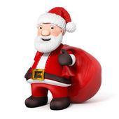 3D Cartoon Santa Claus with sack on white background — Stock Photo