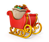 3d santa claus sleigh with gift sack isolated — Stock Photo