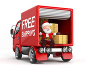 3d cartoon santa claus in truck with cardboard box — 图库照片