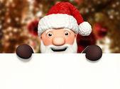 卡通圣诞老人与空白广告牌 — 图库照片