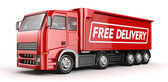 3d Red Truck with Free delivery text - isolated — Stock Photo