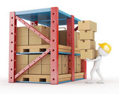 3d white person carries cardboard box at the warehouse — Stock Photo