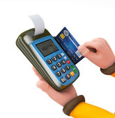 3d Hand swiping generic credit card on an over counter POS — Stock Photo