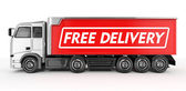 3d Red Truck with Free delivery text - isolated — Foto Stock