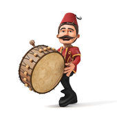3D Traditional Ramadan Drummer and drum — Stock Photo