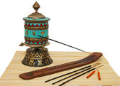 Oriental incense and Buddhist Stupka — Stock Photo