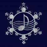 Music snowflake, 3d — Stock Photo