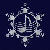Music snowflake, 3d — Stock Photo
