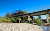 Steam Train Bridge — Stock Photo