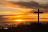 Sunset hill cross — Stockfoto