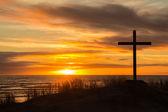 Západ slunce hill cross — Stock fotografie