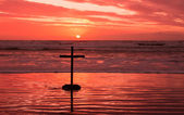 Red Sundown Cross — Stock Photo