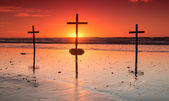 Red Sunset Crosses — Stock Photo