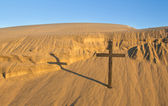 Sand Bank Cross — Stock Photo