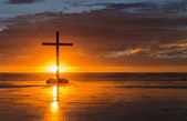 Setting Sun Cross — Stockfoto