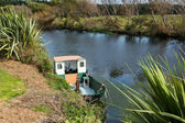 Flax River Boat — Stock Photo