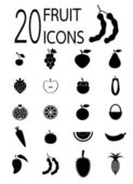 Twenty fruit icons — Stock Vector