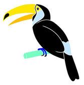 Cartoon animal - toucan - flat coloring style — Vecteur