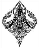 Angelo femminile arte tailandese — Vettoriale Stock