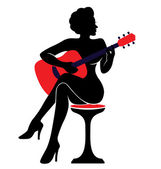 """The vector illustration """"silhouette of a woman with a guitar — Stock Vector"""