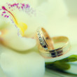 Wedding rings in flowers background — Stock Photo