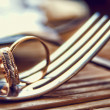 Golden rings on the fork — Stock Photo