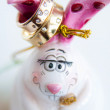 Wedding rings on the rabbit figurine — Stock Photo