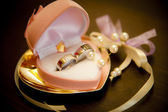 Wedding rings in a beautiful pink box — Stock Photo