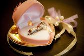 Anillos de boda en una hermosa caja rosa — Foto de Stock