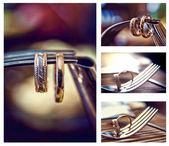 Golden rings on the fork — Stock Photo