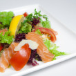 Stock Photo: Salad with salmon and feta