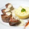 Shish kebab with mashed potatoes — Stock Photo