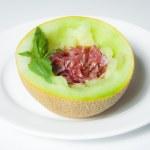 Italian appetizer, ham Prosciutto with melon — Stock Photo #29320809