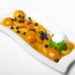 Apricots, blueberries and ice cream — Stockfoto